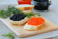 Red and black caviar Royalty Free Stock Photo