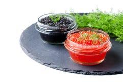 Red and black caviar Stock Photos