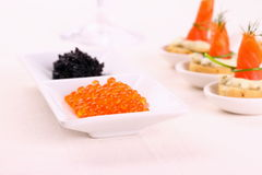 Red and black caviar with smoked salmon rolls Stock Images