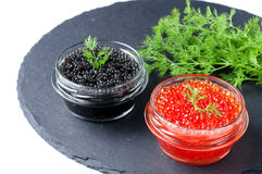 Red and black caviar Royalty Free Stock Photography