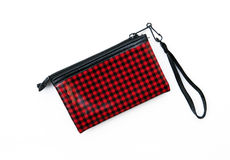 Red and Black checkered wallet purse Stock Photography