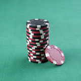 Red and black chip stack Stock Photos