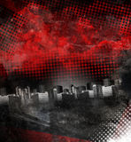 Red and Black City Grunge Background. A dark red and black grunge city with aged texture. Add your text in the copyspace Stock Images