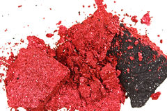 Red and black color crumbled eye shadows Stock Photo