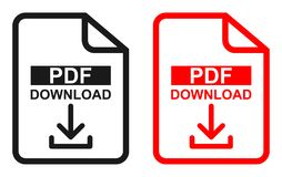 Red and black color Pdf file download icon. Simple vector illustration of red and black color Pdf file download icon on white background vector illustration