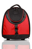 Red and black colored backpack stock image