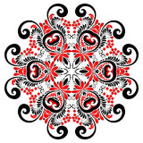 Red and black colors curly ornate vector mandala Stock Image