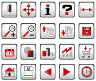 Red and black computer icons. Set of red and black computer icons Stock Photo