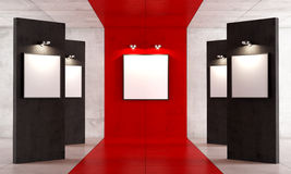 Red and black contemporary art gallery Royalty Free Stock Photography