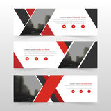 Red black corporate business banner template, horizontal advertising business banner layout template flat design set Stock Photos