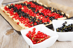 Red and black currant berries with home baked cake on background Royalty Free Stock Photography