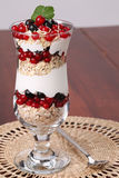 Red and black currant parfait Stock Photo