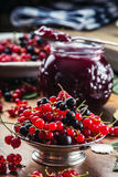 Red and black currants. red currant jam with fresh berry Royalty Free Stock Photography