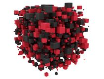 Red and black 3d cubes. Abstract digital background Royalty Free Stock Image