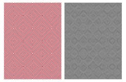 Simple Elegant Abstract Geometric Vector Patterns. Red and Black Design stock illustration