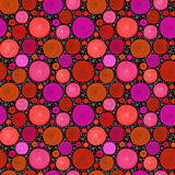 Red on black doodle spiral circles seamless pattern, vector Royalty Free Stock Photo