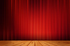 Red black drape cinema  and wood floor Royalty Free Stock Images