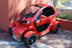 Red and Black Electric Car Renault Twizy in Monte-Carlo, Monaco Royalty Free Stock Photo