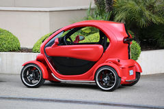 Red and Black Electric Car Renault Twizy in Monte-Carlo, Monaco Royalty Free Stock Photography
