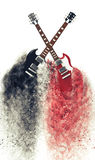 Red and black electric guitars disintegrating Stock Photography