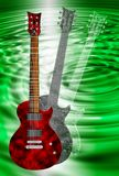 Red and black electric guitars on green background Royalty Free Stock Images