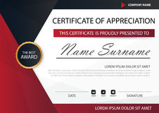 Red black Elegance horizontal certificate with Vector illustration ,white frame certificate template with clean and modern pattern Stock Photo