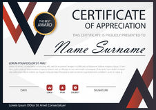 Red Black Elegance horizontal certificate with Vector illustration. White frame certificate template with clean and modern pattern presentation royalty free illustration