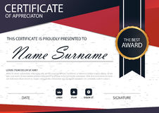 Red black Elegance horizontal Circle certificate with Vector illustration ,white frame certificate template with clean and modern Stock Images