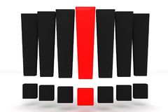 Red and black exclamation mark. Solution concept. 3D render Stock Photography
