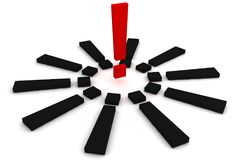 Red and black exclamation mark. Solution concept. 3D render Stock Images