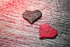 Red and black felt hearts royalty free stock photography