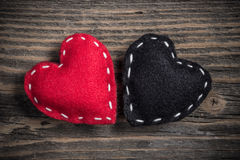 Red and black felt hearts Stock Photography