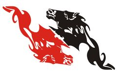 Red and black flaming horse heads - a double sign Stock Image