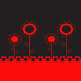 Red and Black Flowers Illustration on Black Background. Red and black flowers arrangement illustration on black background, red leaves, floral illustration Stock Images