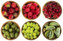 Red and black food. Berries and fruits isolated on white background. Collage of different fruits and berries at green and red colo. R. Kiwi, gooseberries, grapes Royalty Free Stock Photography