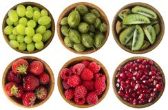 Red and black food. Berries and fruits isolated on white background. Collage of different fruits and berries at green and red colo. R. Kiwi, gooseberries, grapes Stock Image