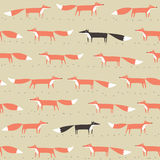Red and black fox seamless pattern. Seamless pattern with red and black fox Royalty Free Stock Photos