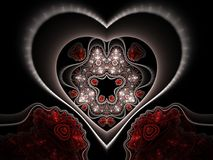 Red and black fractal heart. Digital artwork for creative graphic design Royalty Free Stock Photos