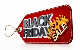 Red Black Friday Sale tag isolated on white background. 3D illustration Stock Photos
