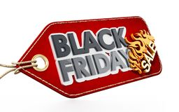 Red Black Friday Sale tag isolated on white background. 3D illustration Royalty Free Stock Photo
