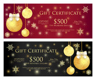 Red and black gift certificate with golden Christm Royalty Free Stock Photography