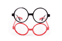 Red and black glasses isolated on white Royalty Free Stock Photo