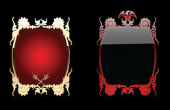 Red And Black Glow Ornate Background Double. Royalty Free Stock Photography