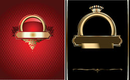 Red, Black And Gold Ornate Banner. Stock Image