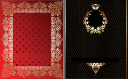 Red, Black And Gold Ornate Banner. Royalty Free Stock Photo