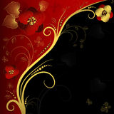 Red, black and golden floral frame. With curls and butterflies Stock Images