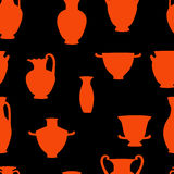 Red and black greek traditional vases seamless pattern, vector Royalty Free Stock Photos