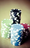 Red Black Green Blue and White Poker Chips royalty free stock images