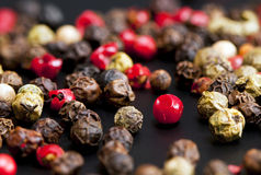Red, black, green and white peppercorns Royalty Free Stock Photography
