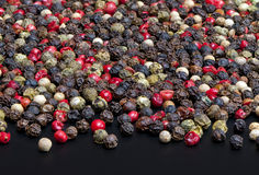 Red, black, green and white peppercorns Stock Image
